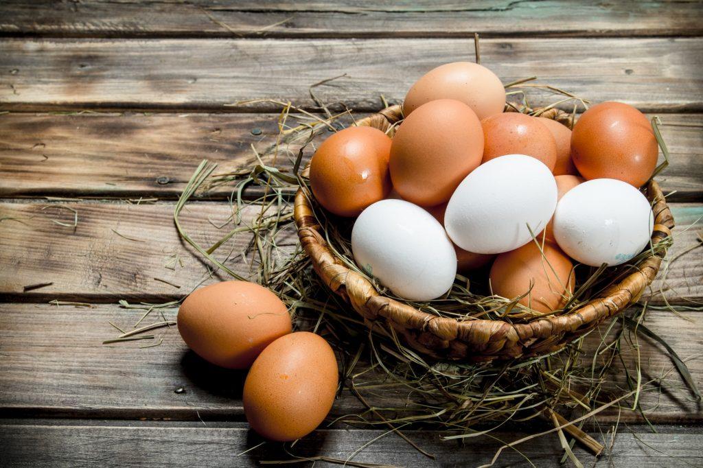 Eggs in a basket.